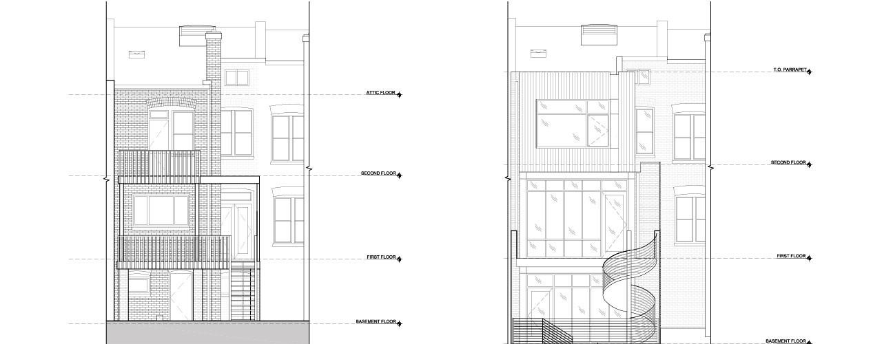 The Wardman Renovation | Existing & Proposed Rear Elevation